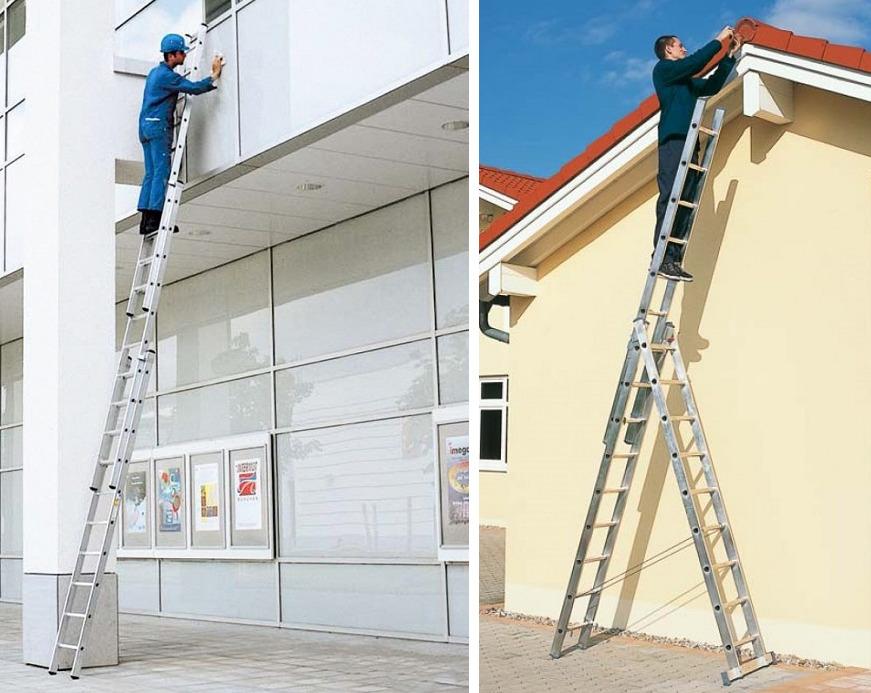 Трехсекционная лестница-стремянка