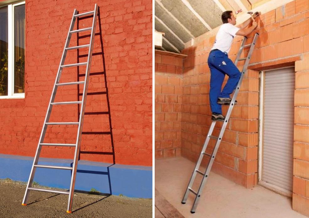 Односекционная лестница алюминиевая