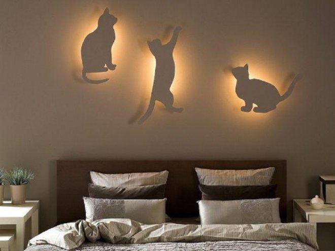 Оригинальная композиция 3-х бра в виде котов или светильники своими руками в фото