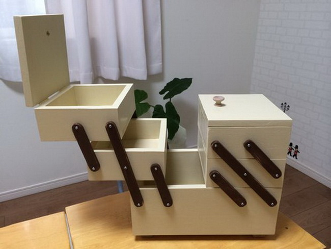 Раскладной ящик для швейных принадлежностей, косметики или других мелочей своими руками в фото