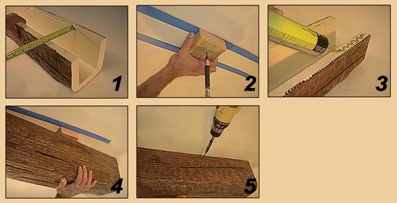 Фальш балки потолочные из дерева своими руками 34
