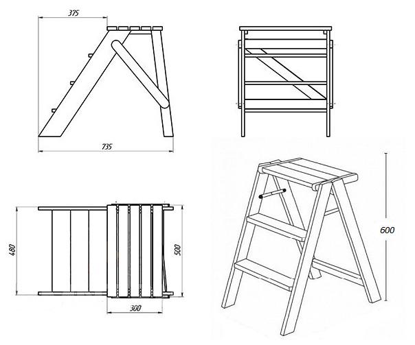 Табурет-лестница чертеж