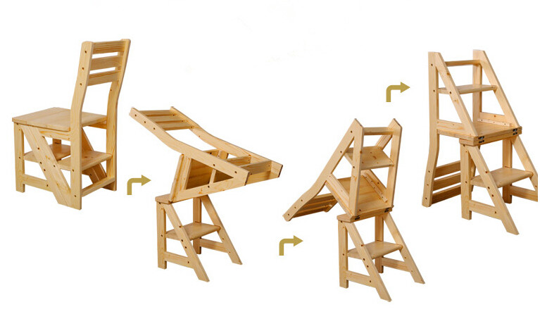 Деревянный стул-лестница