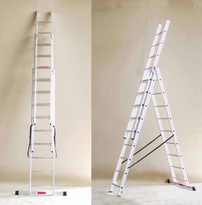 Трехсекционная алюминиевая лестница-стремянка