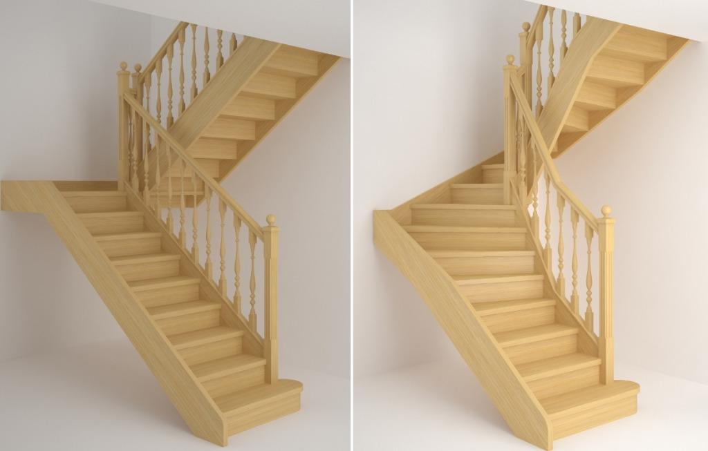 Двухмаршевые лестницы на 180 градусов
