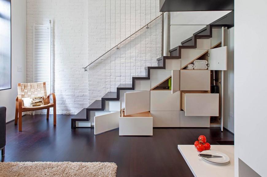 Лестница с модулем для хранения вещей
