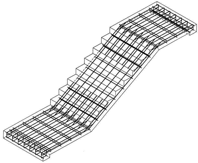 Схема армирования монолитной лестницы