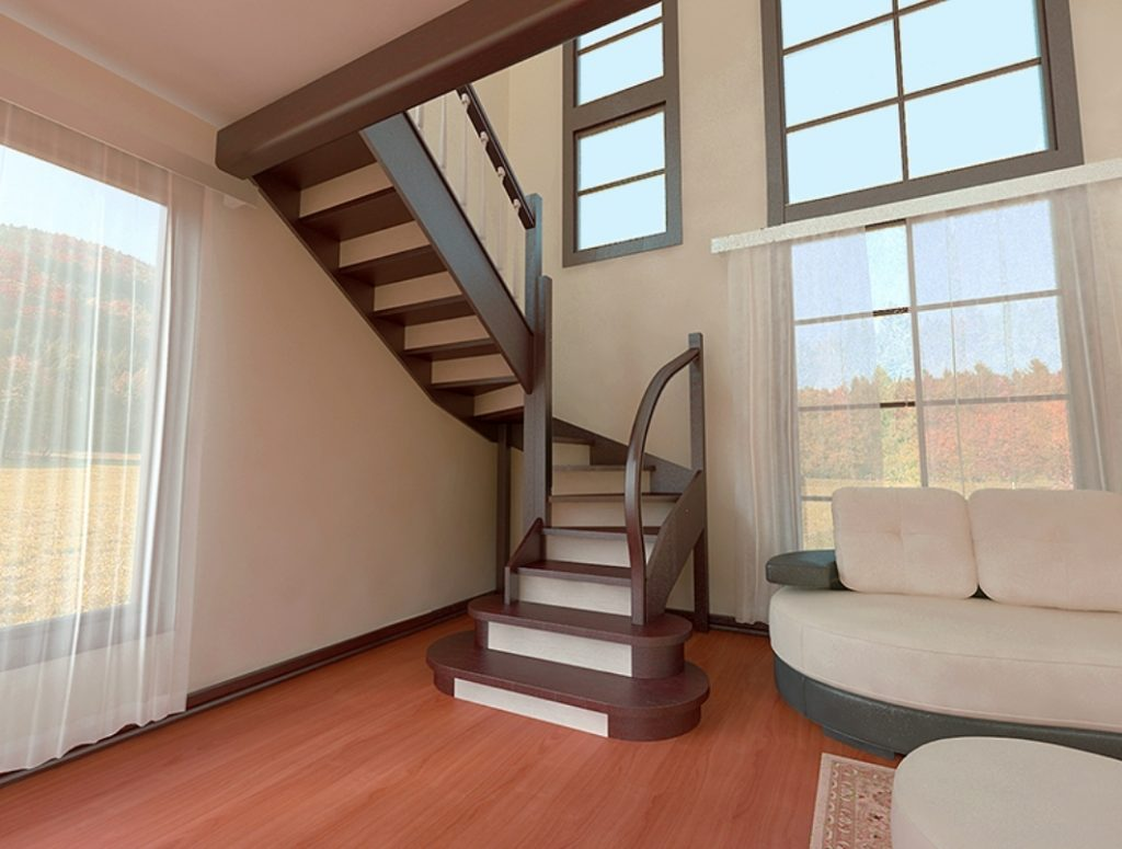 Лестница на 180 градусов на тетивах