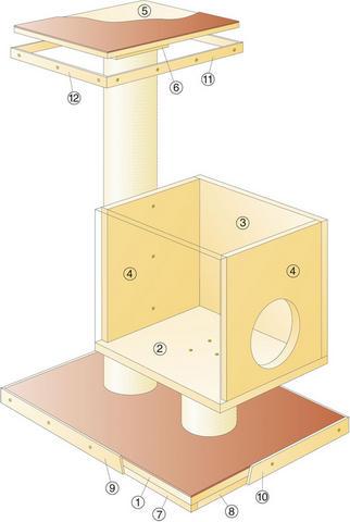 Домик когтеточка своими руками пошаговая инструкция размеры 41