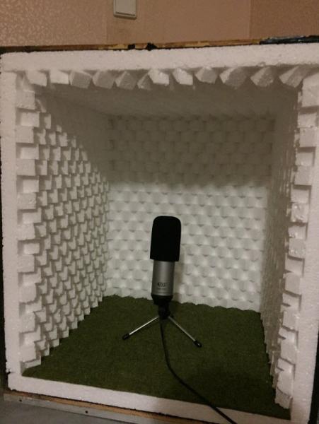 Самодельный акустический экран для микрофона в фото
