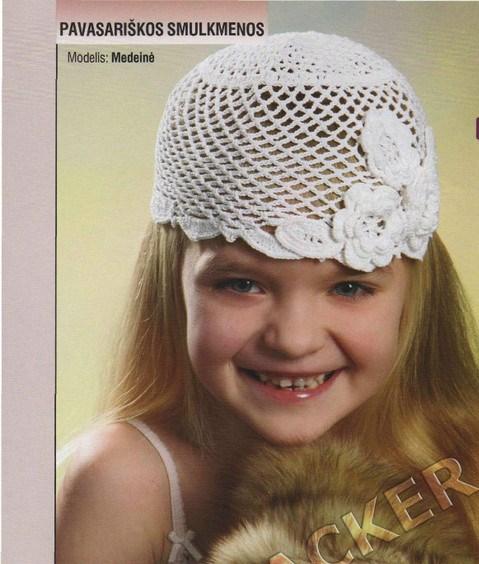 Ажурная шапочка для девочки крючком