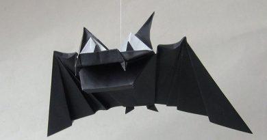 Летучая мышь из бумаги своими руками на Хэллоуин с шаблонами