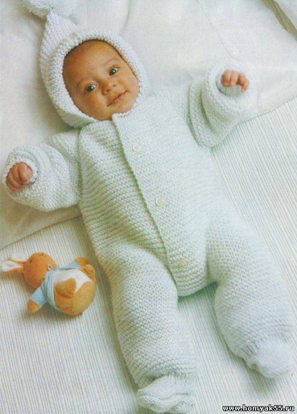 Вязание комбинезона для новорожденного на спицах: схемы и описание работы для начинающих в фото