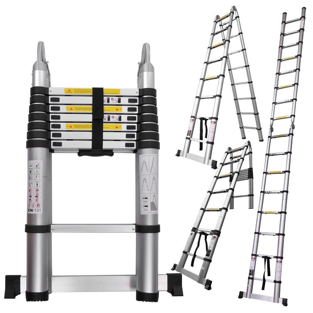 Телескопическая раздвижная лестница-стремянка