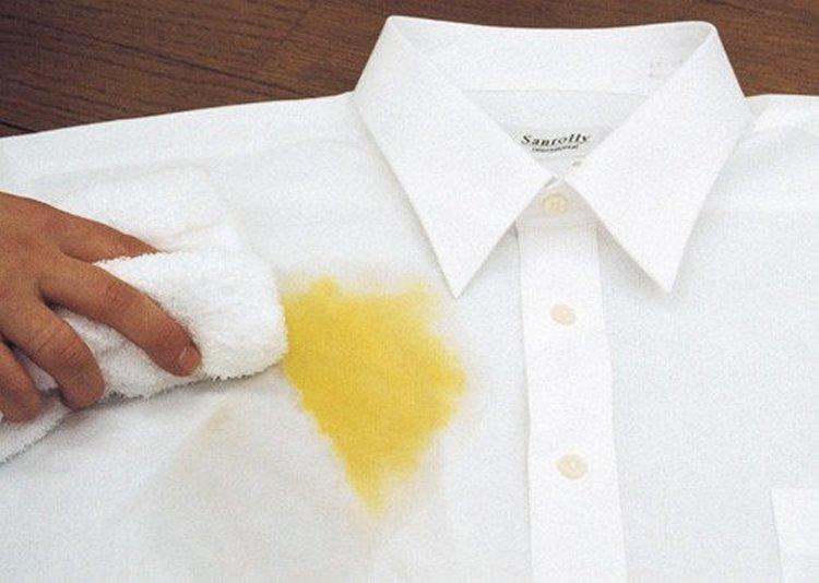 Как удалить желтое пятно с белого платья фото