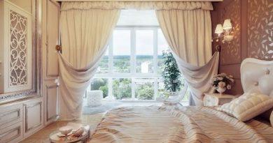 Используем кремовые шторы в интерьере комнат