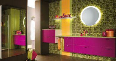 Неоновые цвета в интерьере ванной комнаты