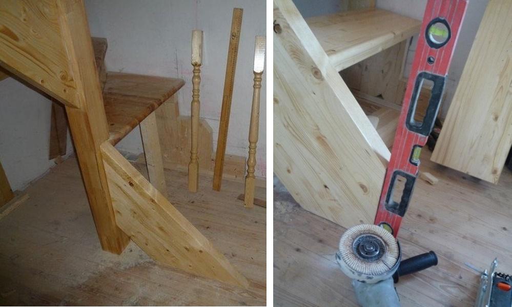 Лестница из дерева с забежными ступенями своими руками