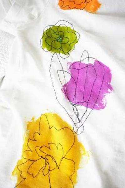 Футболки ручной работы | Создаем цветы в фото