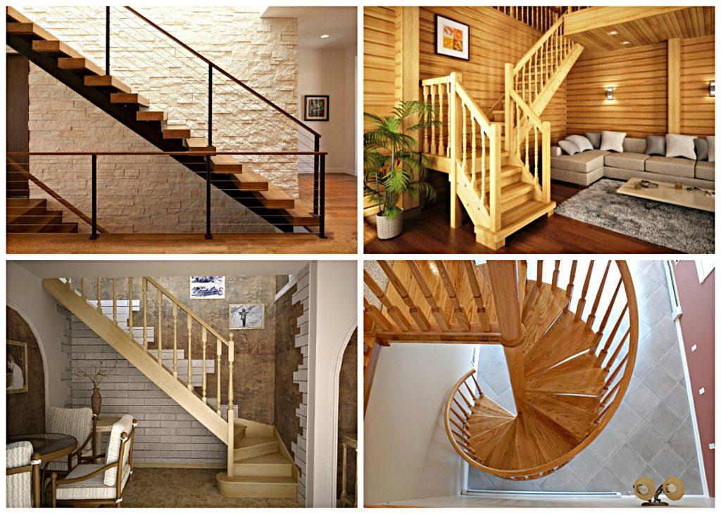 Разные виды лестниц на второй этаж