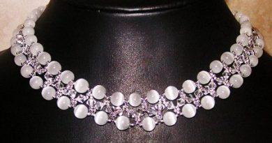 Схема плетения из бисера ожерелья «Ice Lady»