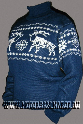 Вязание мужского свитера с оленями 79