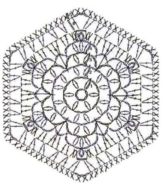 Шестиугольник крючком схема видео 393