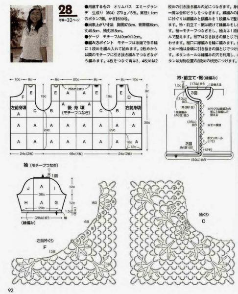 Летние жакеты крючком для полных дам со схемами и описанием работы в фото