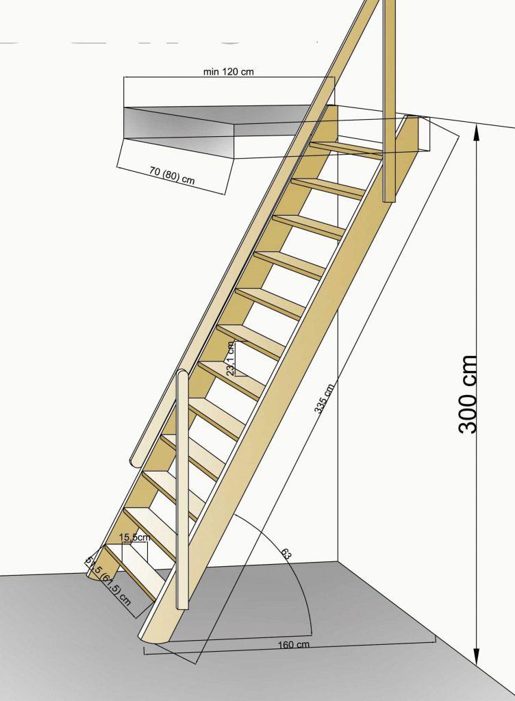 Размеры компактной лестницы на чердак