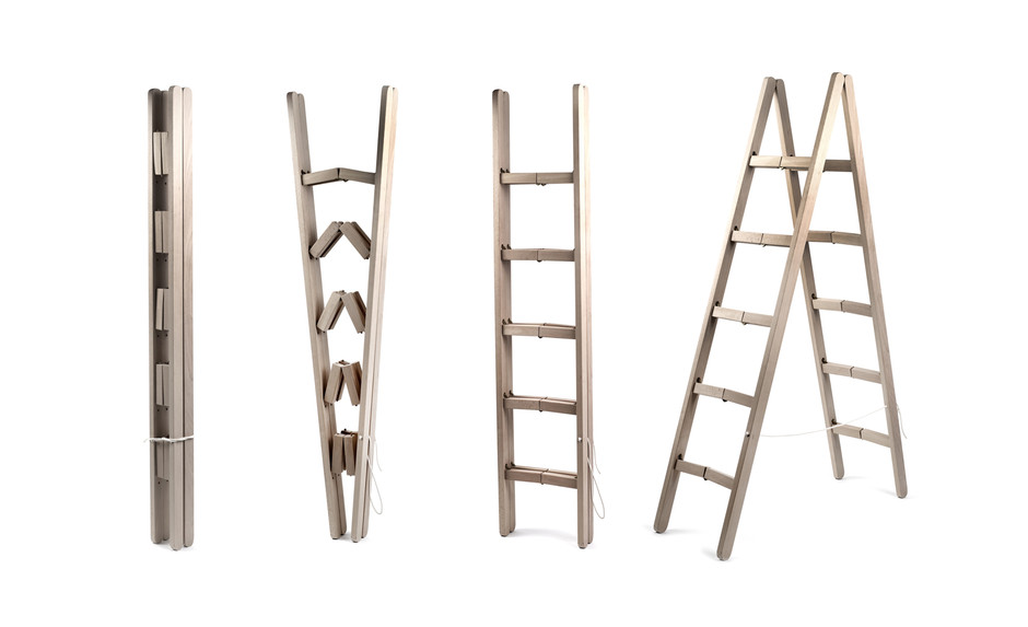 Складная приставная лестница из дерева