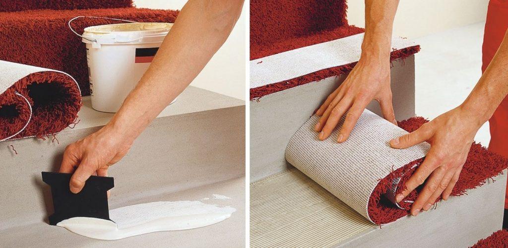 Укладка ковролина на ступени на клей