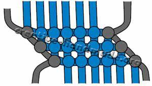 Браслеты ручной работы. Схема плетения №5 (зигзаг с контуром) в фото