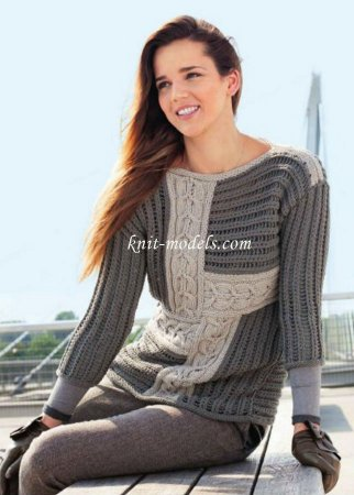 Вязание спицами в стиле пэчворк симпатичного женского пуловера:  схема с описанием в фото