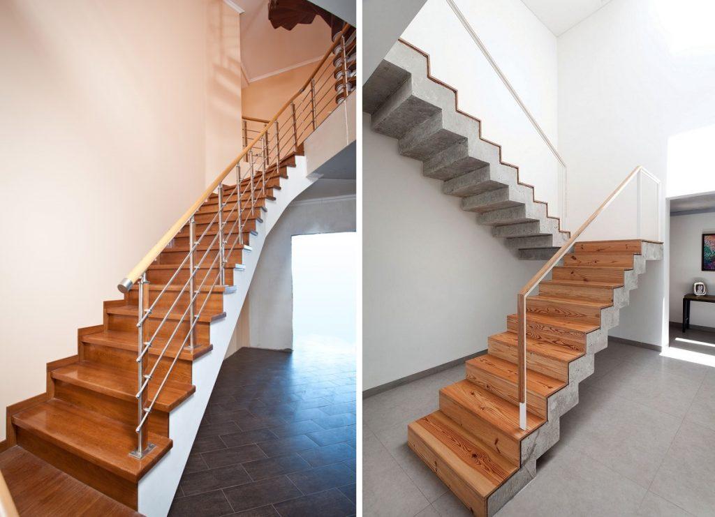 Бетонные лестницы с отделкой из дерева