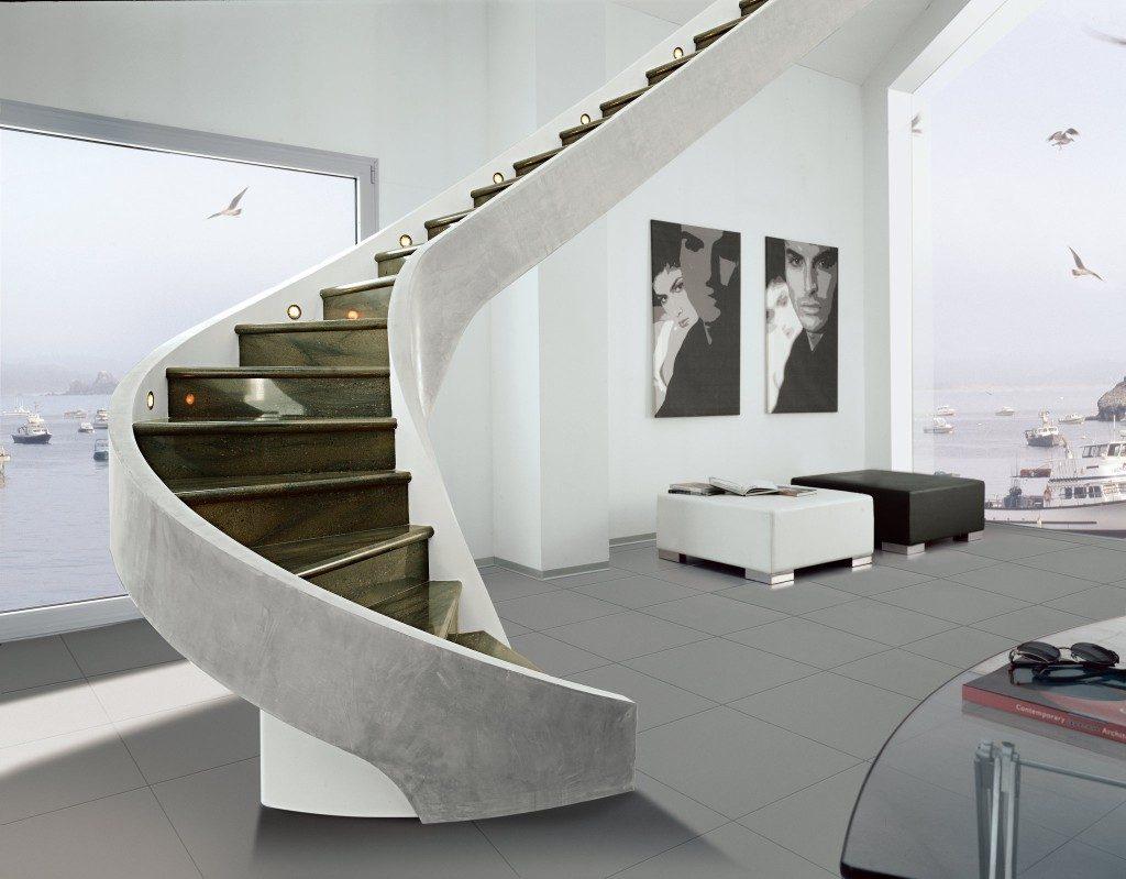 Винтовая бетонная лестница с отделкой из керамогранита