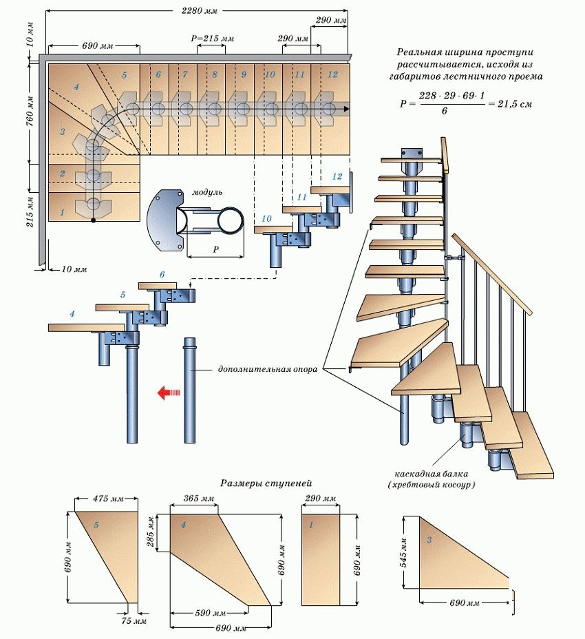 Модульная лестница своими руками схема