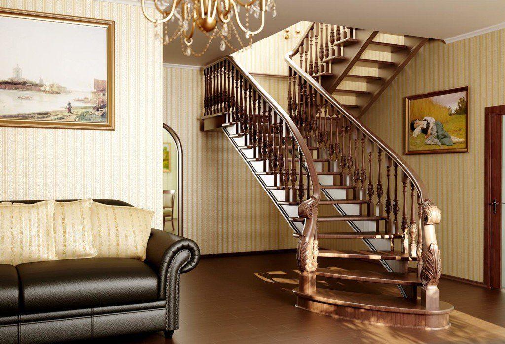Лестница в гостиной в классическом стиле