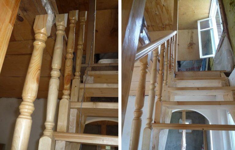 Установка перил на деревянную лестницу