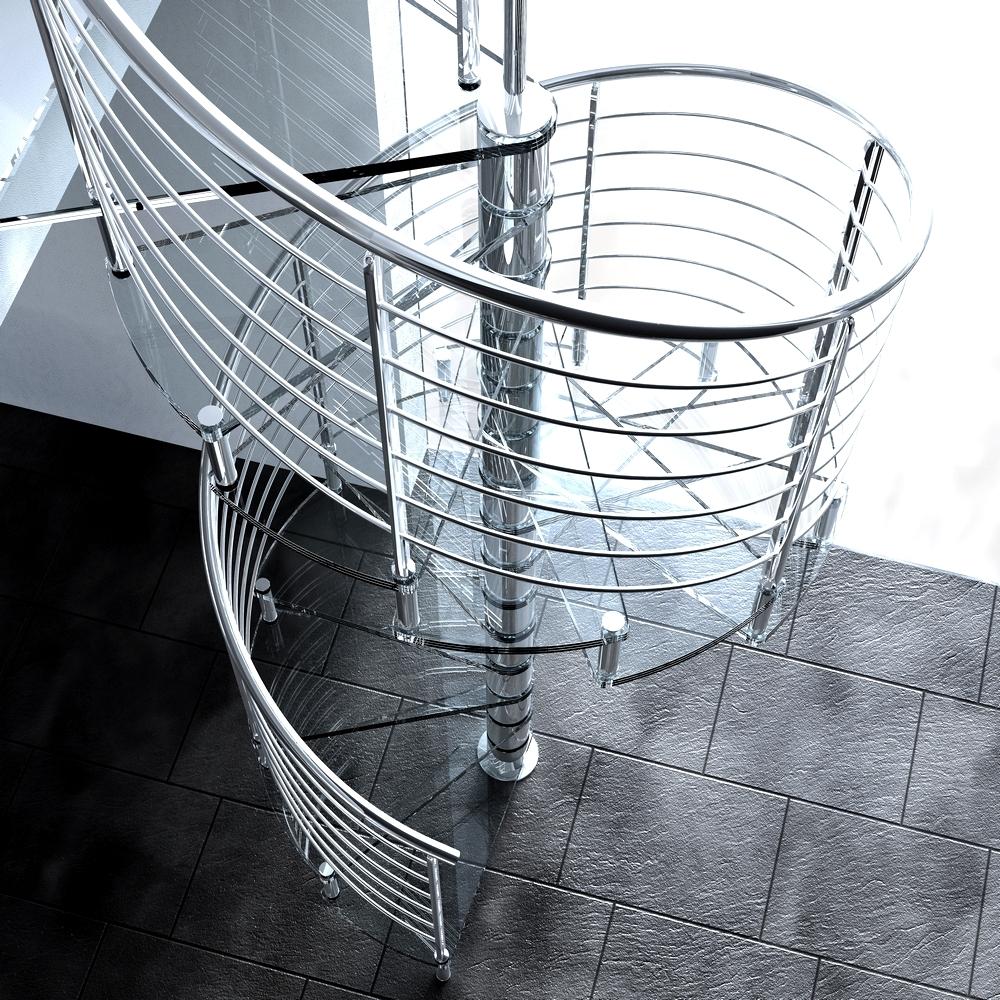 Винтовая лестница с перилами из нержавейки