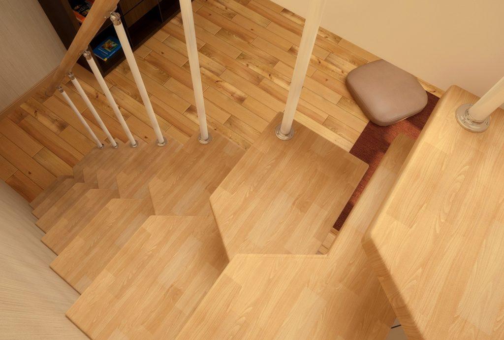 Лестница со ступенями утиный шаг