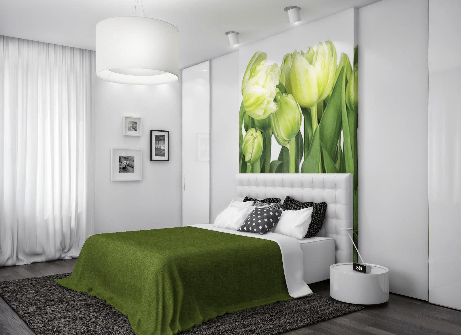 Использование зеленого цвета в спальне: релакс и гармония