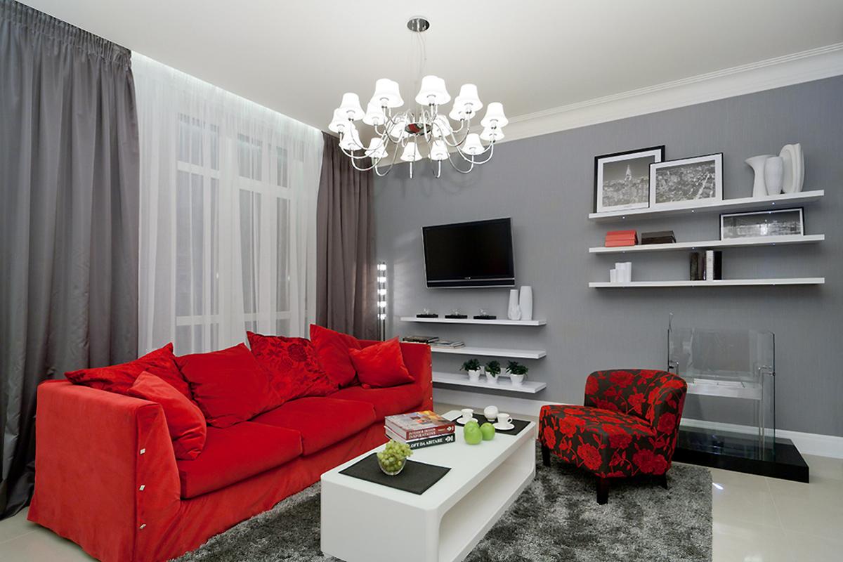 Интерьер гостиной в красных тонах