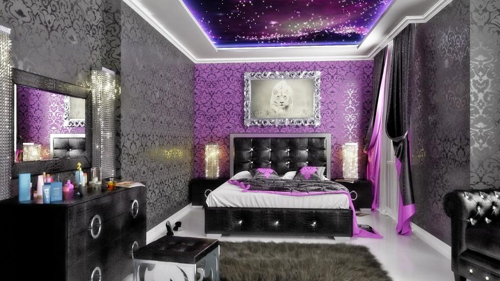 фиолетовый интерьер