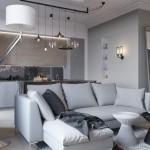 Изысканность серого цвета - фон яркого интерьера