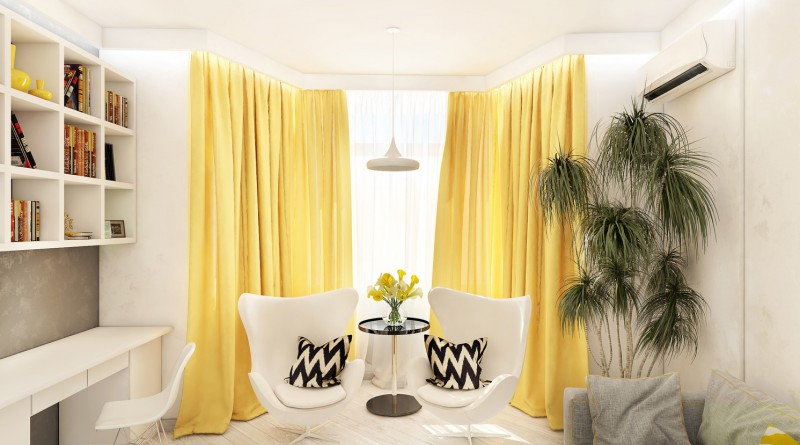 сочетание желтого цвета в интерьере