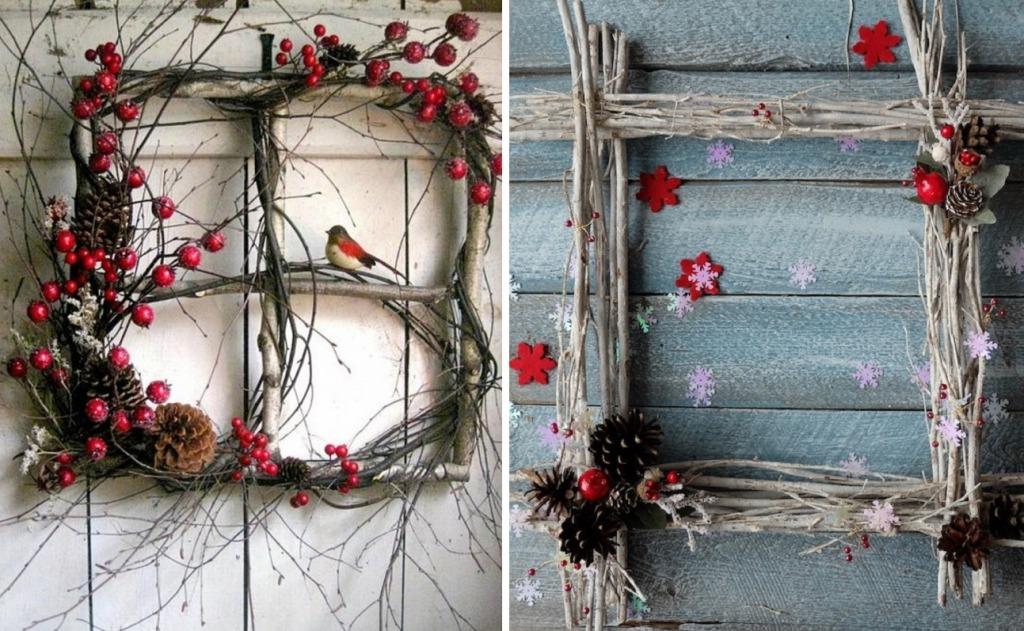 Рождественское окно из веток