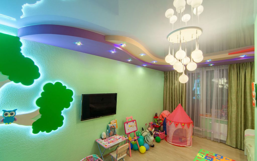 Многоуровневое освещение в детской комнате