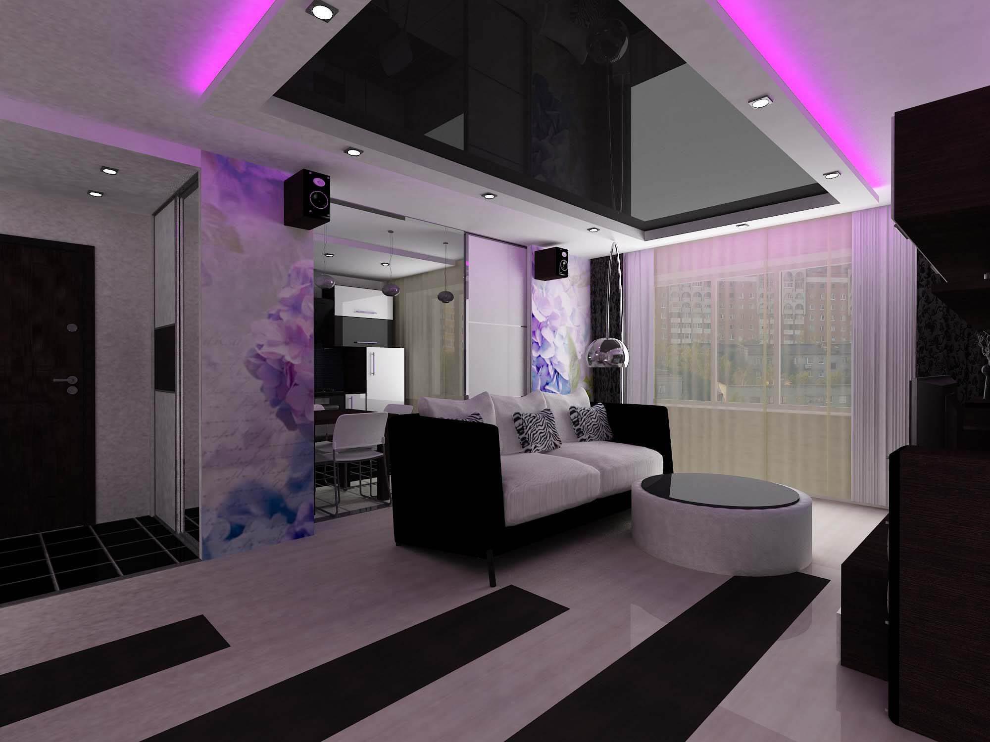 Черный потолок в квартире