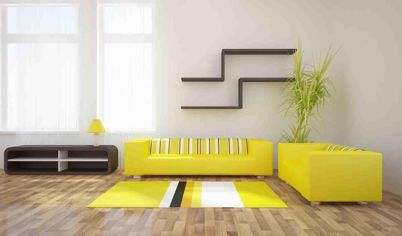 Сочетание желтого и серого в интерьере