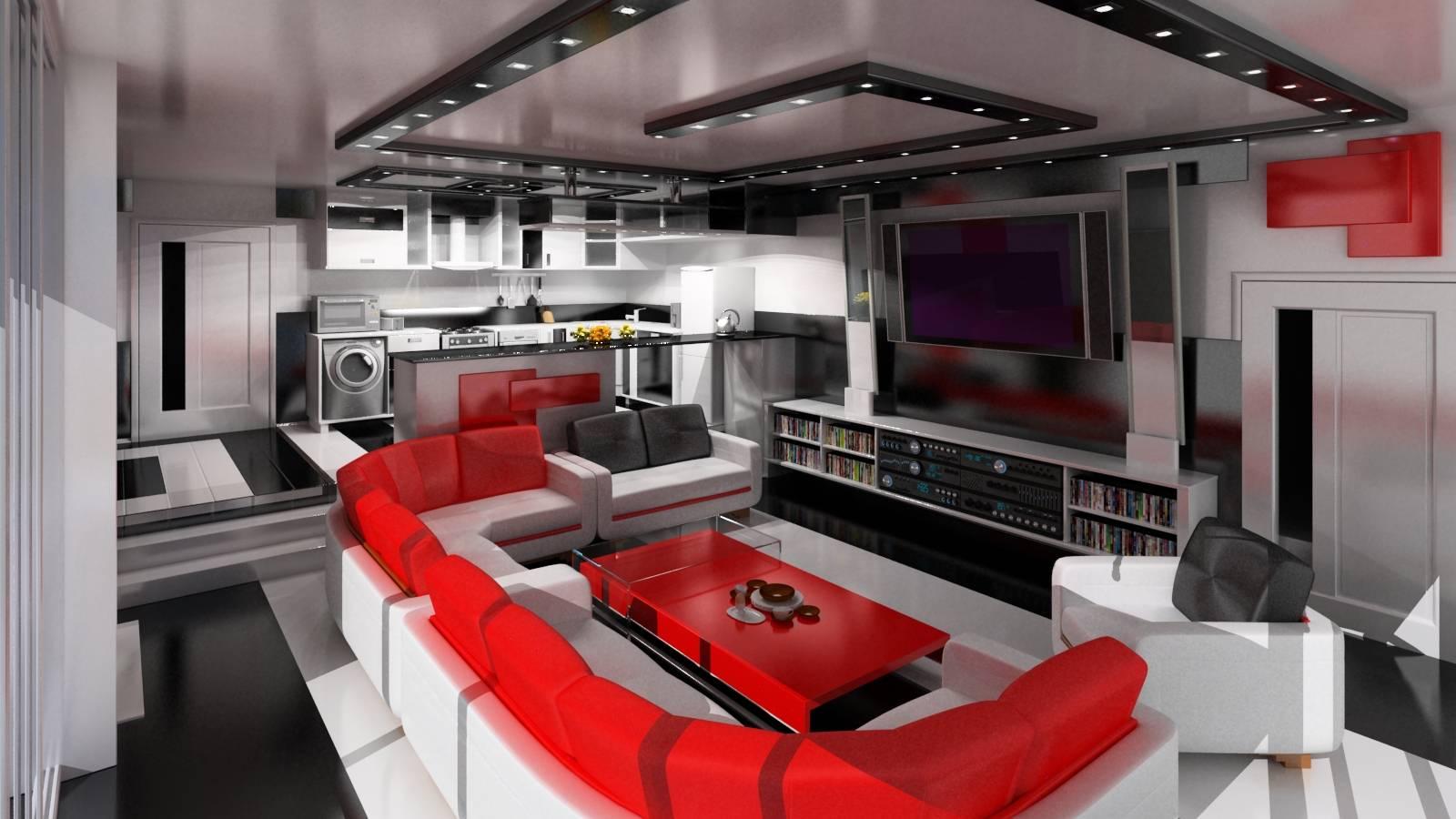 Страстный красный в интерьере гостиной